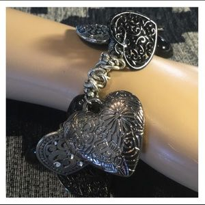 Jewelry - Beautiful Handmade Silver & Black Heart Bracelet